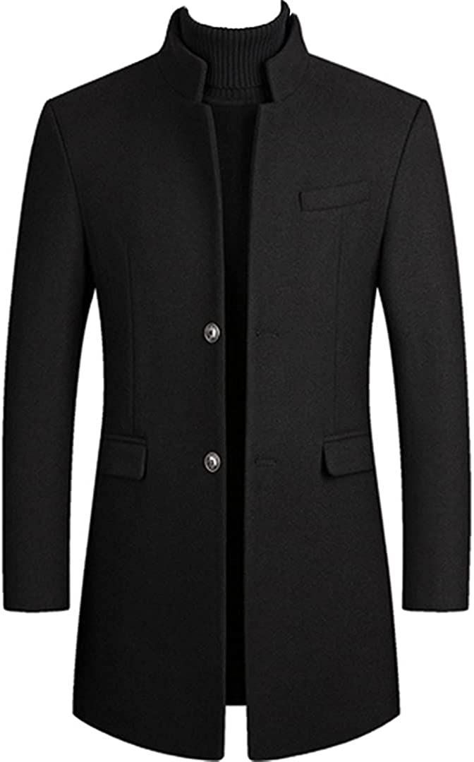 Men Winter Wool Jacket Thick Wool Coat Casual Woolen Pea Coat Trench Coat Casual Overcoat