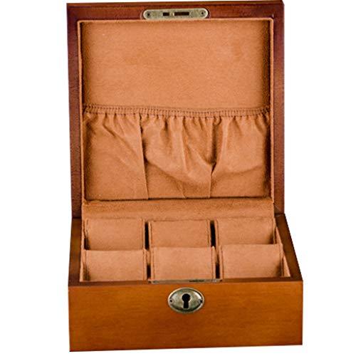 CMX-Coffrets Boîte de Rangement de vitrine boîte de Rangement verrouillable boîte de Montre 6-Slot Cadeau pour Hommes Plateau de Valet pour Hommes Tapis détachable (Couleur Bois)