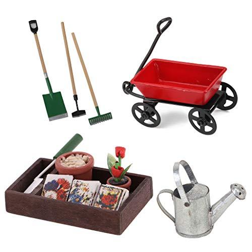 Kit de Carrito en Miniatura Caja de Jardinería de Madera Mini Regadera con Juegos de Herramientas para Casa de Muñecas Escala 1/12