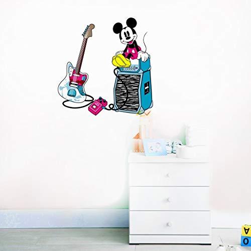 Stickers muraux Mickey Mouse Happy Disney Decal Mickey Mouse jouer de la guitare Mickey Mouse Stickers Disney vinyle autocollant pour chambre d'enfants