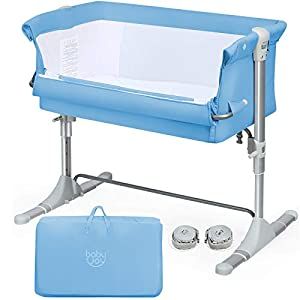 crib bedding and baby bedding baby joy baby bedside crib, portable bassinet w/carrying bag, easy folding, kids bed side sleeper for newborn infant w/detachable mattress, straps, height & angle adjustable, breathable mesh, blue