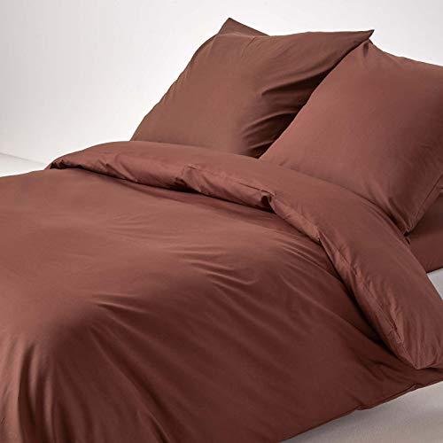 Homescapes Bettwäsche-Set 3-teilig Bettbezug 240 x 220 cm mit Kissenhüllen 80 x 80 cm schokobraun 100% reine ägyptische Baumwolle Fadendichte 200 Perkal-Bettwäsche