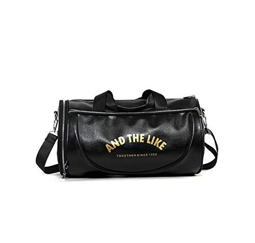 Quanjie Bolsa Gimnasio de Viaje Impermeable Bolsas Deporte PU Cuero Bolsos Deportivos Fin de Semana Travel Duffle Bag para Hombres y Mujeres (Negro-1)