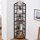 Bacswihom 5 Tier Corner Shelf, Industrial Corner Bookshelf with Metal Frame, Rustic Corner Storage Rack Shelves Display Plant Flower, Stand Bookcase for Home Office, Small Place, Retro Brown