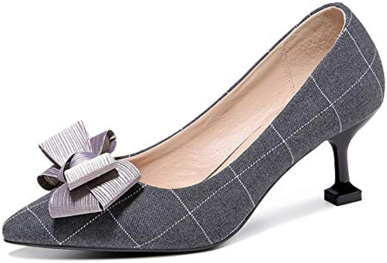 PINGXIANNV Schuhe Der Hohen Schuhe des Pers5Onlichkeithohen Absatzes Frauen Zeigten Katze Mit Schuhen Die Schuhe Der Bogenkinder    Nutzen Sie Materialien voll aus    Modern    Outlet