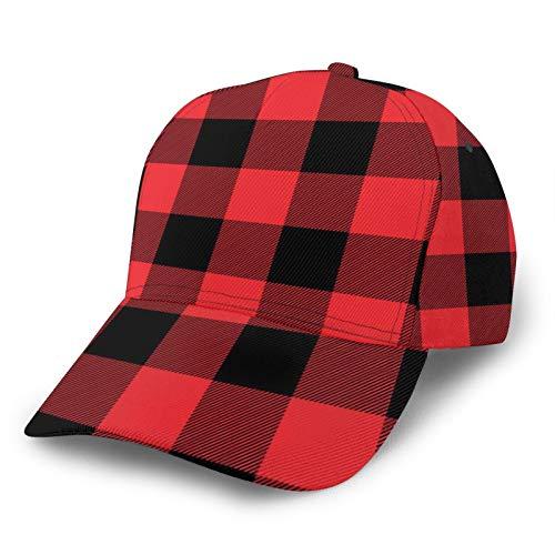 Jack16 Gorra de béisbol ajustable para hombre y mujer, sombrero deportivo para papá, papel de regalo a cuadros rojos, apto para cola de caballo juvenil, damas, tenis, pelota de golf, gorra aju