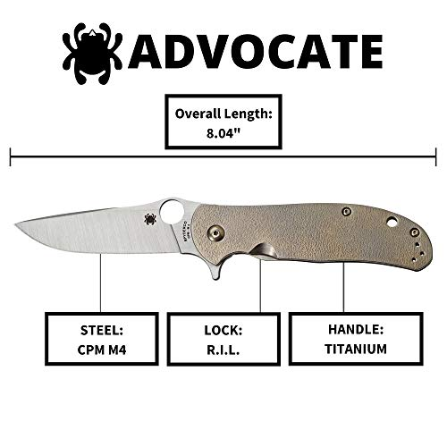 """Spyderco Advocate Premium Flipper Knife with 3.49"""" CPM M4 Stainless Steel Blade and 3D-Machined Solid Titanium Scaled Handle - PlainEdge - C214TIP"""