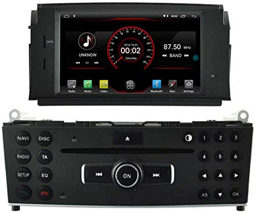 Android 10 Car DVD Player GPS Stereo Head Unit Navi Radio Multimedia Wifi Compatible con Mercedes Benz C Class W204 2007 2008 2009 2010 2011 Mercedes Benz C Class C180 C200 C220 Control del volante