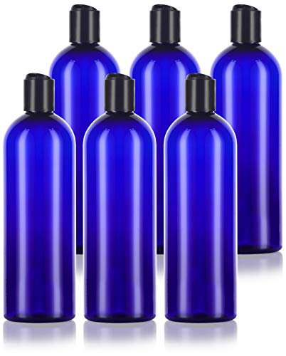 16 oz / 500 ml Cobalt Blue Slim PET Plastic Bottles (BPA Free) with Black Disc Cap Lid (6 pack)