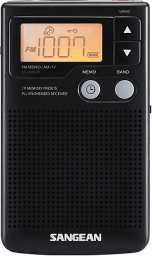 Sangean DT-200X FM-Stereo/AM Digital Tuning Pocket Radio Black
