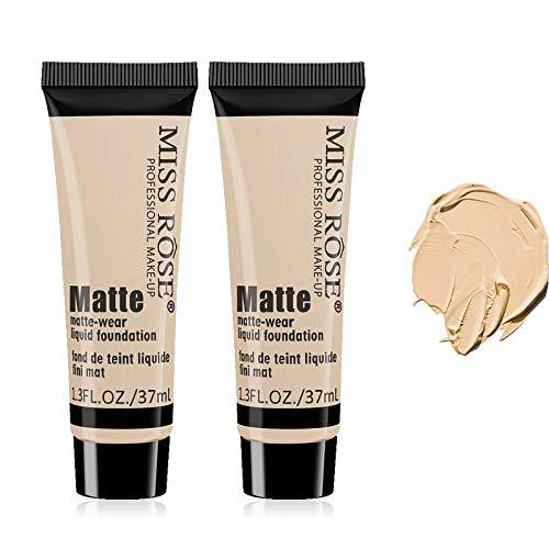 2 Pack Miss Rose Matte Wear Liquid Foundation, 37ml Matte Wear Concealer Sun Block Cream, Moisturizing Concealer Waterproof Face Cream (Beige 1)