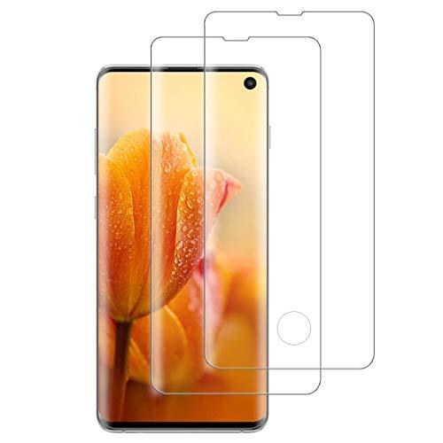 XSWO Cristal Templado Galaxy S10 [2 Unidades], Protector de Pantalla para Samsung Galaxy S10, [3D Cobertura Completa] [9H Dureza] [Sin Burbujas] [Anti Huella Digital] Vidrio Templado