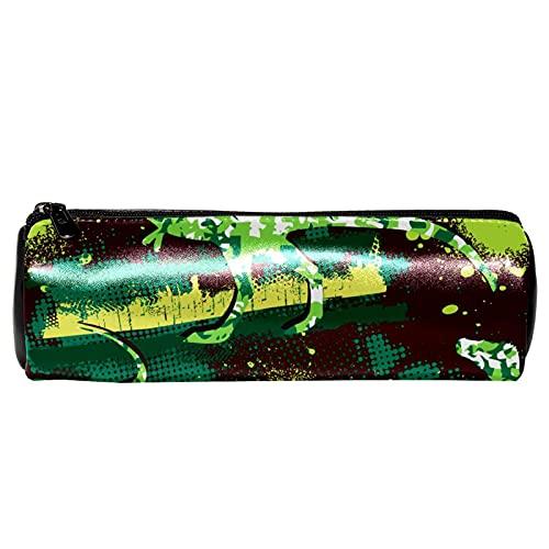 EZIOLY Estuche de lápiz de piel verde con diseño de dinosaurio, con diseño de camuflaje, para estudiantes, papelería, escuela, trabajo, oficina, almacenamiento