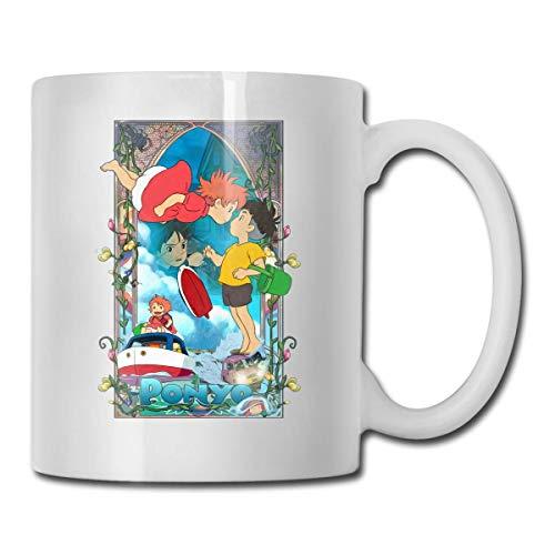 haoqianyanbaihuodian Ponyo On The Cliff - Tazas de café de cerámica para decoración de té, té, cacao o chocolate