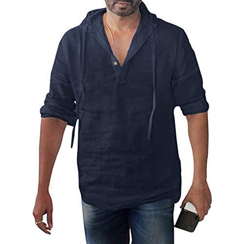 DNOQN Sportshirt Herren T Shirt Topshop Poloshirt Herren Übergröße Langarm Baggy Baumwolle Leinen Solid Button Kapuzen Shirts Tops XXXL