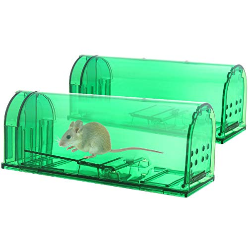 Large Mouse Traps Humane Traps Catch and Release with NO Kill – Reusable Mouse Traps for Small Rodent, Voles, Hamsters, Moles Catcher That Works – 2 Pack