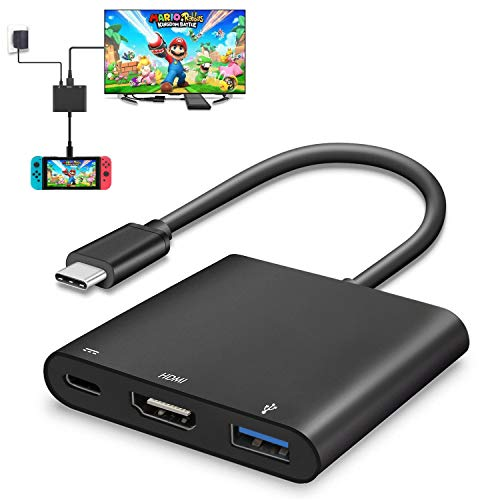 HDMI USB Type C Adapter for Nintendo Switch, Portable 4K HDMI Dock Cable, TV Controller MacBook Pro Samsung Galaxy S8 Plus Google Pixel Hub Converter Cord