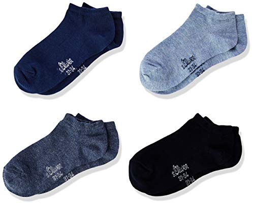 s.Oliver Socks Jungen S24040 Füßlinge, Blau (Stone Mix 5303), 27-30 (Herstellergröße: 27/30) (4er Pack)