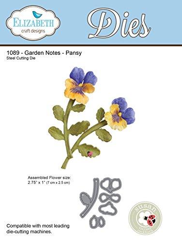 Elizabeth Craft Designs Garden Notes Pansy Die, 6x2.5x0.1 cm, Grey