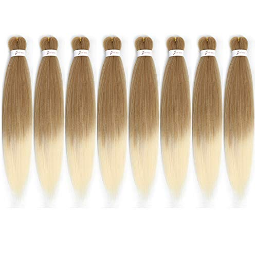 """8 Packs Pre-Stretched Braiding Hair 20"""" Braids Professional Yaki Synthetic Hair for Crochet Twist (20"""", T27/613)"""