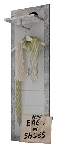 Garderobenpaneel Wandgarderobe Flurgarderobe | Weiß Hochglanz | Betonoptik | Kleiderhaken