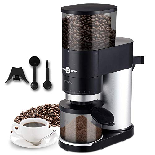 Coffee Grinder, ENZOO Conical Burr Grinder with Detachable Design for Easy Cleaning, 40 Precise Grind Setting for Espresso, Drip Coffee, French Press and Percolator Coffee (black) (Renewed)