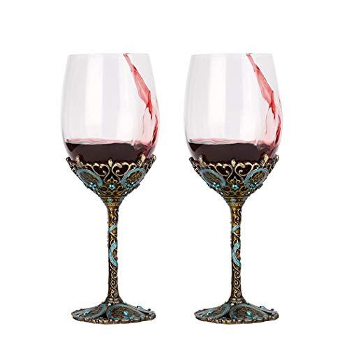 Par de copas de vino creativas con forma de flor de esmalte (una caja de regalo doble)