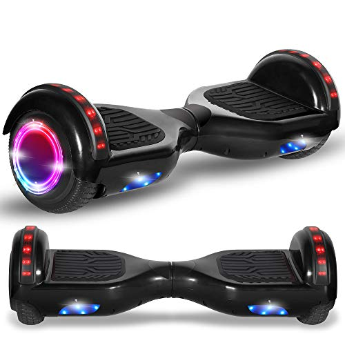 Newest Generation Electric Hoverboard Dual Motors Two Wheels Hoover Board Smart Self Balancing Scooter with Built-in Bluetooth Speaker LED Lights for Adults Kids Gift (Classic Charcoal)
