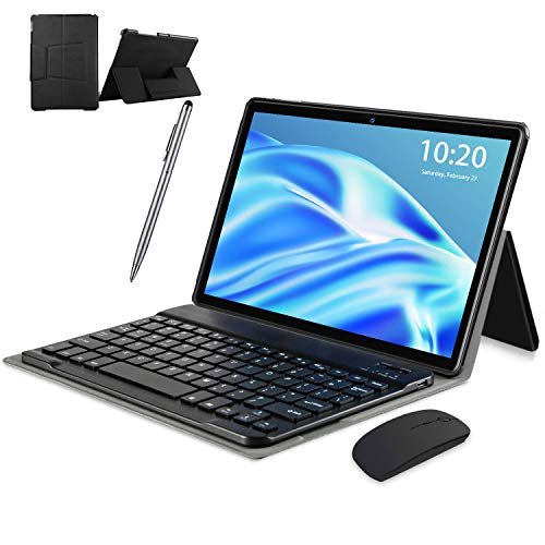 Tablet WiFi 4G 10.1 Pulgadas, 2 in 1 Tablet con Teclado 4GB RAM+ 64GB ROM /128GB Escalables , Android 10 Tablet PC Quad-Core 8MP, 8000mAh Dual SIM/OTG/Bluetooth Tablet con Teclado y Raton (Negro)