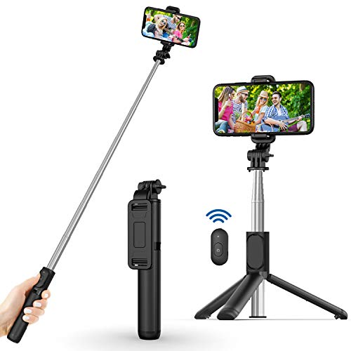 Selfie Stick, Extendable Selfie Stick with Wireless Remote and Tripod Stand, Portable, Lightweight, Compatible with iPhone 12/11/iPhone 12 PRO/iPhone...