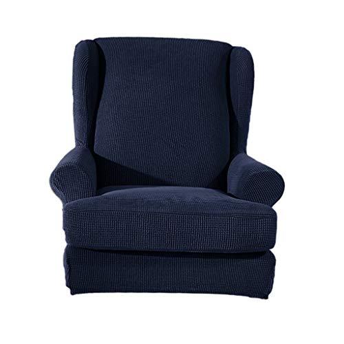 B Blesiya Ohrensessel Schonbezug Elastische Überwurf Schutzhülle Sessel Husse für Ohrensessel - Dunkelblau