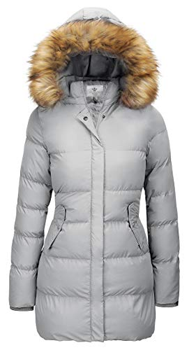 WenVen Women's Winter Thicken Puffer Coat with Fur Removable Hood (Grey,XL)