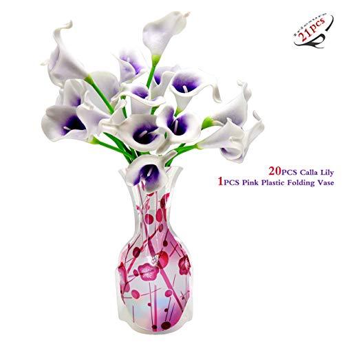 Iriesure 20 STKS Calla Lelie + 1 STKS Roze Plastic Opvouwbare Bloem Vaas voor Bruids Bruiloft Boeket hoofd Latex Real Touch Bloem Boeketten
