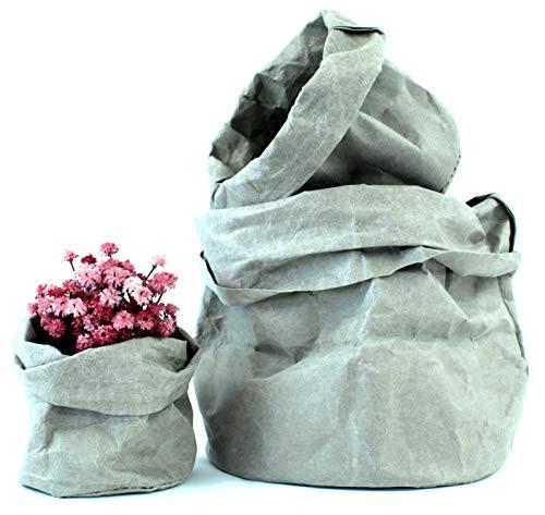 Set 3 Cestas Decorativas de Papel Kraft - Cubremacetas para Plantas Naturales y Flores Artificiales - Cestos Decoracion Hogar, Organizador, Almacenaje