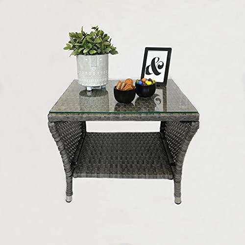 Eleganter Polyrattan Beistelltisch mit Tischglasplatte und Ablagefläche, 50x50cm - Grau - Gartentisch Teetisch Gartenmöbel Rattanmöbel
