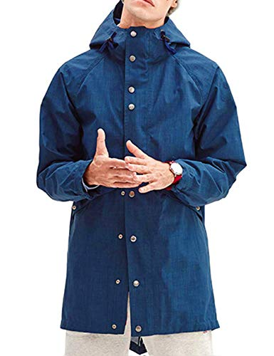 poriff Mens Big and Tall Rain Jacket with Hood Windbreaker Athletic Raincoat Blue S