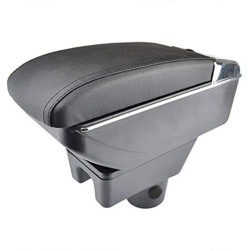 Tiamu für Mirage Space Star 2014-2018 Aufbewahrungs Box Armlehne Armlehne Dual Schicht Schwarz Leder Aschen Becher (Schwarz Leder + Schwarz Linie)