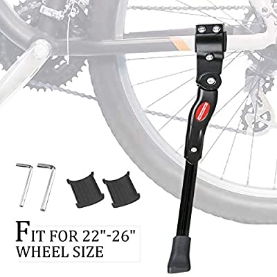 "GameXcel Bike Kickstand Adjustable Bicycle Kickstand - Bike Stand for 22""-26"" Road Bike/Mountain Bike - Aluminum Alloy Bike kick stand - Bicycle Accessories - Indoor Bike Storage"