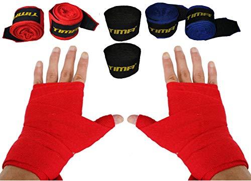 TIMA Semi-Elastic Cotton/Nylon Boxing Professional 108 Inch Hand Wraps for Boxing Kickboxing Muay Thai Mma - Pack of 3 (Multicolor)