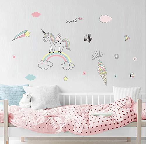 GVFTG schattige eenhoorn regenboog ijs wolk muur Sticker PVC muursticker voor kinderen kinderkamer DIY poster behang huis decoratie 90X40cm