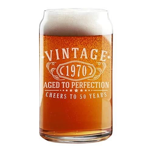 Vintage 1970 - Barattolo di birra in vetro inciso, 453,6 g, per 50° compleanno invecchiato alla perfezione, regalo di 50 anni