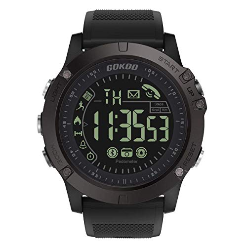 GOKOO Montre Connectée Homme Smartwatch Sport Militaire Bluetooth Montre Intelligente Multifonction Etanche Digital Quartz Montre Fitness Tracker d'Activité LED Alarme Calendrier pour Android iPhone