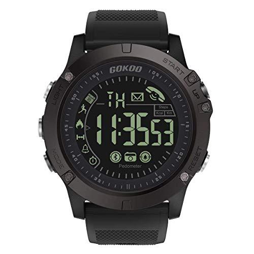 Gokoo Smartwatch, für Herren, militärisch, Bluetooth, multifunktional, wasserdicht, digital, Quarz, Fitness-Armbanduhr, Aktivitäts-Tracker, LED-Alarm, Kalender für Android iPhone