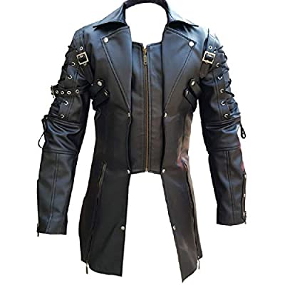 Olly And Ally Mens PU Leather Goth Matrix Trench Coat Steampunk Gothic - T18 (Small, All Black) from