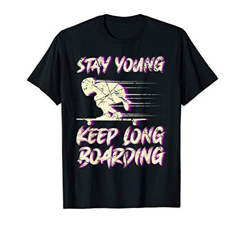 Keep Longboarding Longboard Geschenk Skateboard Skater Retro T-Shirt