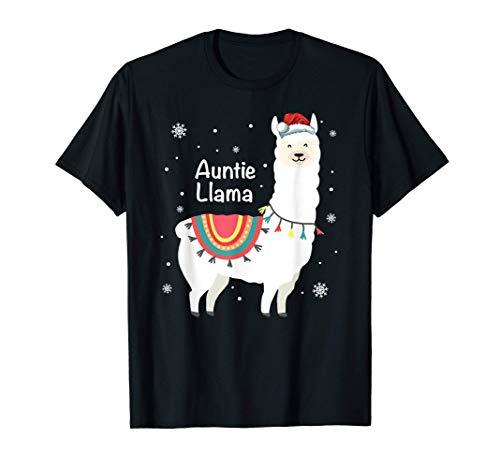 Auntie Llama Shirt Funny Christmas Pajama Family Maching T-Shirt