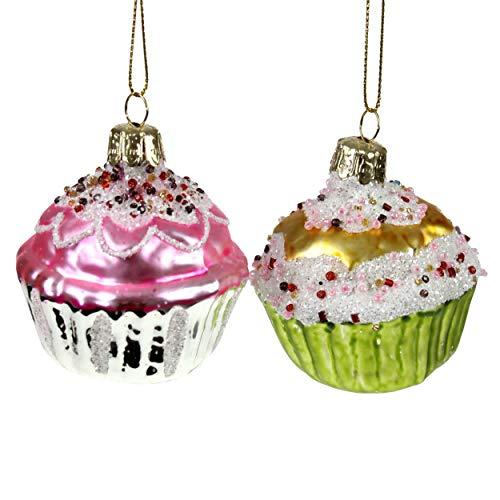 2X Muffins Cupcake Glitter Glitzer Bäckerei Nachtisch süß Muffin Weihnachtsschmuck Weihnachtsdeko Hänger Weihnachten Dekoration Advent Christbaumschmuck Tannenbaum