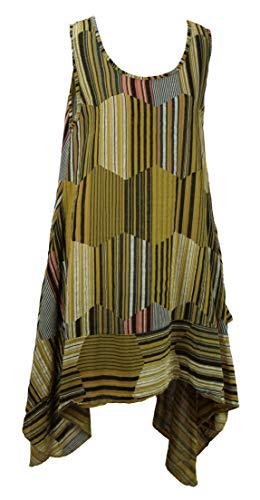 BZNA Leinen Tunika Kleid Gelb Streifen Kleid Leinentunika Shirtkleid 36 38 40 42 one size Damen Dress Oberteil elegant