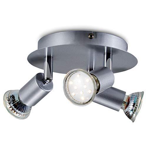 B.K.Licht - Lámpara de techo con 3 focos LED GU10, focos ajustables y giratorios para interiores, de luz blanca cálida, 3W y 250 lúmenes, 3000K, forma de anillo, color titanio, glorieta