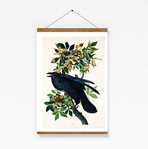 Print Wandbild Poster Bild Wanddeko Vintage Rabe Kolkrabe Corvus Corax Birds Vögel Frühlingsboten A4
